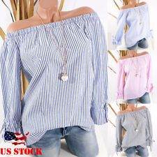 ac75666a59a Fashion Women Striped Off Shoulder Shirt Casual Blouse Ladies Oversize Top  USA Top Usa