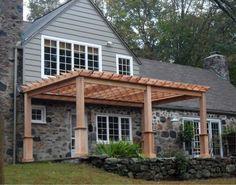 Elegant wooden pergola design for front of the house