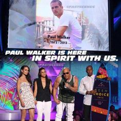 """What a weekend !! And it was all about Family Congrats again to the newlyweds Felicia and Cody Walker, to the #FastFamily for the 2 Teen Choice Awards and congrats to, last but not least, Paul for his award. #ForPaul #PaulWalker """"How can we not talk about family when family's all that we got?"""" #SeeYouAgain Photo credit: @fastscenes"""