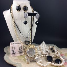 Mixed Black & White Steampunk Costume Jewelry Lot Sun Rays Faux Pearls Hematite  #Unbranded #SteampunkGothVictorianRevivalFashion