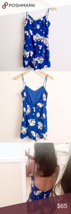 Royal Blue Floral Romper w/ Low V Back Size XS tag// 15 in. across chest// length varies depending on adjustable straps // **one of my fav items in my closet! It just doesn't fit as nicely anymore :( Can be dressed up or now, pair it with a leather jacket!! PRICE IS FIRM** Zara Pants Jumpsuits & Rompers