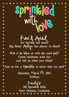 Sprinkled with Love - Baby Shower Invitation. $15.00, via Etsy.