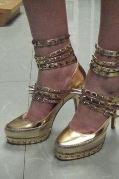 Gold-Tone Heeled Shoes with Spiky Straps, $127