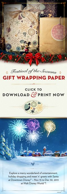 Downtown Disney Festival of the Seasons DIY Wrapping Paper #Christmas