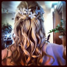 Half updo with soft/romantic curls topped off with flowers @ Le Petit Wedding Spa / Sedona, AZ