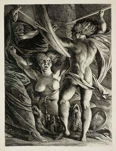 """James Barry reprend le titre pour ce """"Satan, Sin and Death"""" des années 1792-1808. Tate Gallery."""