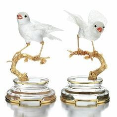 Pair of coral, rock crystal, onyx and yellow gold bird table ornaments, Boucheron, 1980s - Sotheby's