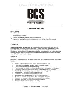 construction company resume template - Corporate Resume Template