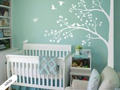 White Tree Wall Decal Huge Corner Tree with Leaves and Birds Nursery Decor Large Tree Mural  White Whimsical Tree Wall Sticker 011 by StudioQuee on Etsy https://www.etsy.com/uk/listing/215735793/white-tree-wall-decal-huge-corner-tree