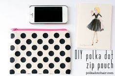 DIY Polka Dot Zip Pouch. If I could get gold fabric, this would be the second best thing to the pencil case on my wishlist.