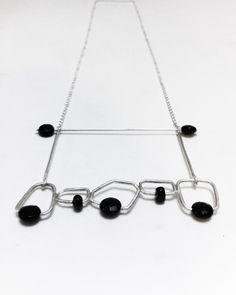 Necklace, silver, black onix.