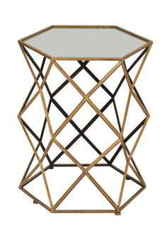"Magnificent Metal Mirror Accent Table 20""""W 25""""H"