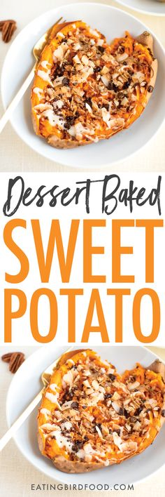 Turn nutrient-rich sweet potatoes into a satisfyingly sweet dessert! Just bake and stuff with your favorite toppings. This particular dessert baked sweet potato is loaded with toasted coconut, coconut butter, cinnamon, almond butter, pecans and dark chocolate. Vegan, gluten-free and paleo-friendly.
