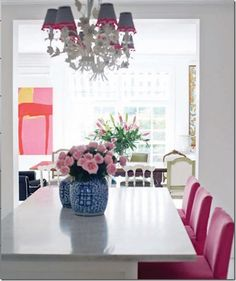 Use art in hallways or across from doors to tie the themes of your rooms together or to transition from one space to another. Anna Spiro's dining room pictures from La Dolce Vida, via Canadian House and Home.