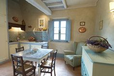 The kitchen of lovely cottage Virgo at #Guardastelle near San Gimignano. Tuscany  www.guardastelle.com