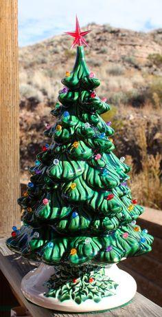 "15.5"" Lighted Green Ceramic Christmas Tree Music Box  from Vintage Cramer 1981 Mold"