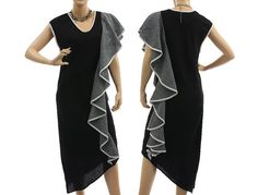 Artsy boho linen party coctail dress in black and von classydress, $237.00