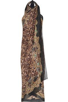 Roberto Cavalli Printed cotton and silk-blend sarong