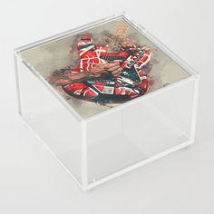 Eddie Van Halen's electric guitar Acrylic Box by popcultposters Guitar Painting, Guitar Art, Sammy Hagar, David Lee, Eddie Van Halen, Acrylic Box, Cool Artwork, Rock And Roll, Guitars