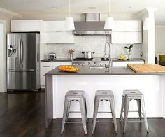 Modern combines with classic in this white kitchen: http://www.bhg.com/kitchen/color-schemes/neutrals/white-kitchens-we-love/?socsrc=bhgpin070314modernmixkitchen&page=1