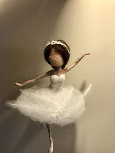 Needle felted fairy Waldorf inspired Wool White Swan Fairy