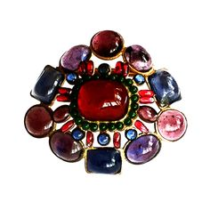 MAISON GRIPOIX 1950s - Fine and rare vintage Maison Gripoix brooch. Authentic Gripoix item for Chanel. Item after Coco Chanel's legendary and iconic jewel (see attached image). Stunning multi-color 'poured' glass cabochon mounted item. Gilt metal setting retains original pin back.