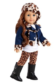 Trendy Jewel - Clothes for 18 inch Doll - 5 Piece Outfit - Jeans Jacket, White Tunic, Leggings, Beret and Black Boots