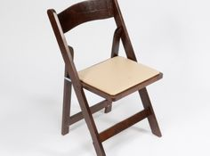 Folding Chair, Fruitwood with Ivory Padded Seat