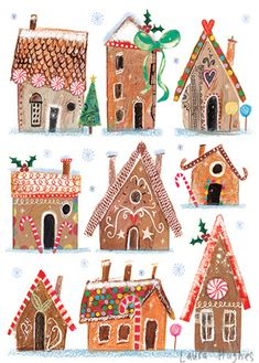 Gingerbread Drawings - With Children - Christmas Illustration - Water, Christmas Gingerbread, Noel Christmas, Winter Christmas, All Things Christmas, Vintage Christmas, Gingerbread Houses, Christmas Art Projects, Winter Art Projects, Holiday Crafts