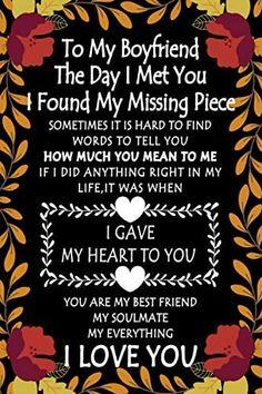 To My Boyfriend the Day I Met You I Found My Missing Piece: Cute Valentines Day Gifts for Boyfriend Journal - Gift for Him Boyfriend Notebook - Couples Gifts for Boyfriend From Girlfriend