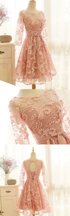 Short Prom Dresses | Long Sleeve Prom Dresses | Vintage-style Pastel Pink See-Through Lace Dress
