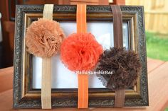 Fall Thanksgiving Shabby Puff Chic Flower Headband Set, Latte Brown Orange, Fits Newborn Infant Toddler Adult, Stretch Elastic, Baby Girl by BellaBumbleBee, $9.95