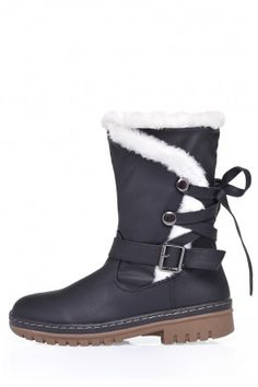 Lizzy Fur Trim Ankle Boots in Black Fur Trim, Ankle Boots, Walking, Footwear, Flats, Winter, Valentines, Park, Shoes