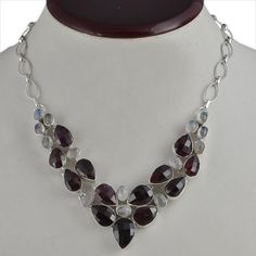 FOR SELL GARNET & MOONSTONE 925 SOLID SILVER NEW STYLE NECKLACE 44.68g NK0031 #Handmade #NECKLACE