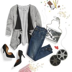 """""""Silver clutch, silver screen. Celebrate #NationalPopcornDay with buttery, date-night perfection: a waterfall cardi & denim. """""""