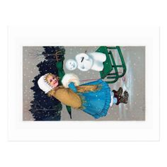 girl and snowan  vintage postcard - christmas cards merry xmas family party holidays cyo diy greeting card