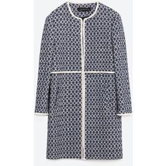 Zara Printed Coat ($149) ❤ liked on Polyvore featuring outerwear, coats, jackets, zara coats and fur-lined coats
