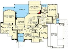 Would turn the flex room into a library/media room Barn House Plans, Shed Plans, House Floor Plans, Corner Stove, Corner Lot, 400 M, Arts And Crafts Storage, Home Design Floor Plans, Monster House