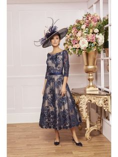 Veni Infantino 991464 Lace Aline Dress With Sleeves French Navy/gold