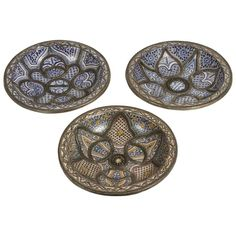 Large Decorative Ceramic Plates from Fez | From a unique collection of antique and modern decorative art at https://www.1stdibs.com/furniture/wall-decorations/decorative-art/