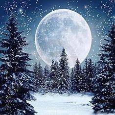 Painting Snow, Winter Painting, Diy Painting, Moon Painting, Winter Scene Paintings, Tree Paintings, Star Painting, Ship Paintings, Nature Paintings