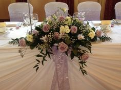 Lilac and Cream Rose and Freesia top Table Arrangement Close up. Table Arrangements, Table Centerpieces, Flower Arrangements, Table Decorations, Wedding Reception Flowers, Wedding Colors, Wedding Dress, Top Table Flowers, Vera Wang Wedding