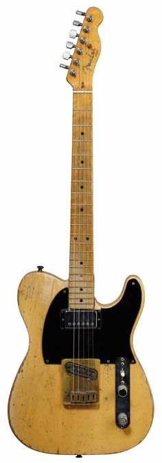 "The Rolling Stone's best known guitar is probably Keith Richards ""Micawber"". A ""1953 Butterscotch Fender Telecaster"" tuned to an open G with the sixth string removed, Fender •TELEC' on Headstock. Keith named this Fender after a character in Dickins' novel, David Copperfield. gl"