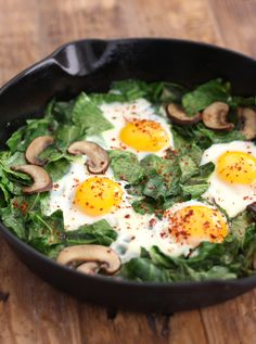 Skillet Collards with Mushrooms and Eggs sprinkled with aleppo chili pepper by SeasonWithSpice.com