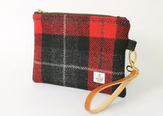 Red and Black Check Harris Tweed Oversized by PaulineLothian