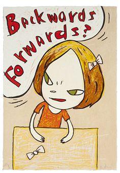 YOSHITOMO NARA  Backwards Forwards  woodcut in colors, 2012