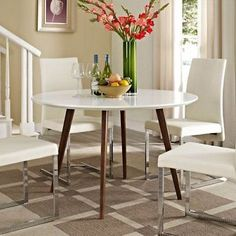 Modway Furniture Platter Dining Table in White - EEI-1064-WHI
