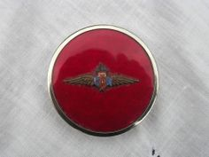 Original 1940s R.A.F Sweethearts Powder Compact Enamel Insignia Red Background
