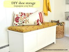 DIY shoe storage {tutorial} *Easy way to add a shelf to an existing toy box by Jessica @ Four Generations One Roof