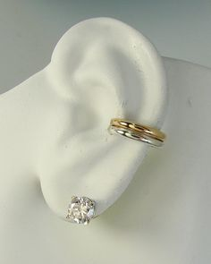 Pierced Conch Earring Cartilage Body Piercing Hoop Earring Tragus Hex Post Sterling Silver 14k Gold Filled Double Half Round ETTGFSSPOST
